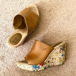 b.o.c Floral Cork and Leather Dianna Wedges